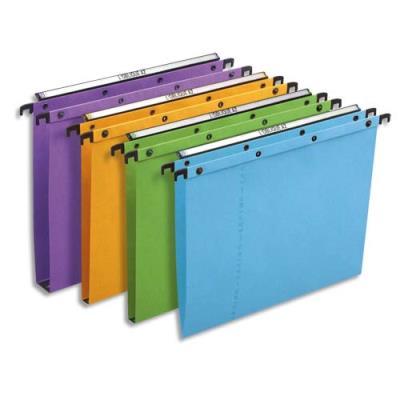 Dossiers suspendus AZO en carte Canson coloris assortis - pour tiroir - dos V - paquet de 25 (photo)