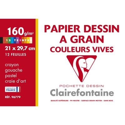 Papier dessin à grain Clairefontaine - A4 - 160 g - pochette 12 feuilles - couleurs vives assorties
