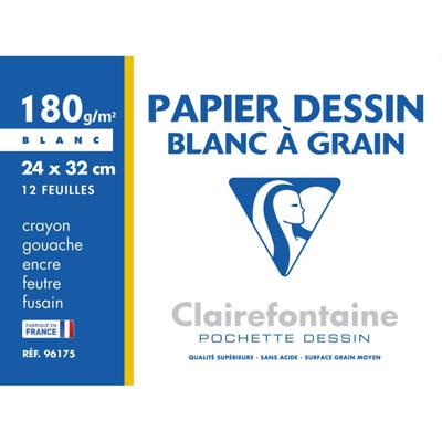 Papier dessin à grain Clairefontaine - 24 x 32 cm - 180 g - pochette de 12 feuilles blanches