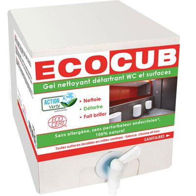 Gel nettoyant écologique détartrant surfaces et wc - parfum menthe - écocub de 10 litres