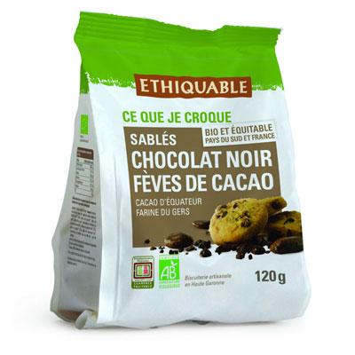 Biscuit sablé aux pépites de chocolat noir et fèves de cacao bio Ethiquable - paquet de 120 g