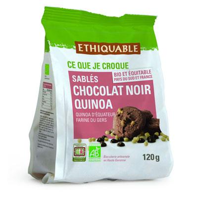 Biscuit sablé aux chocolat noir et quinoa bio Ethiquable - paquet de 120 g