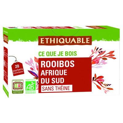Thé infusion Rooibos bio d'Afrique de Sud - boîte de 20 sachets fraîcheur