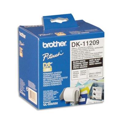 Etiquettes multi-usages - Brother DK11209 - Noir et Blanc - 29 x 62 mm (photo)
