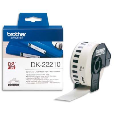 Ruban continu, support papier adhésif - Brother DK 22210 - 29 mm x 30 m - blanc (photo)