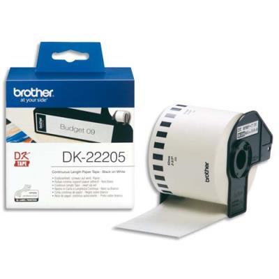 Rouleaux d'étiquettes Brother DK-22205 - noir/blanc - 62 mm x 30 m (photo)