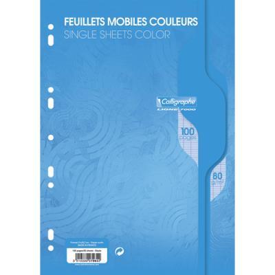Feuillets mobiles Calligraphe - bleu - grands carreaux - 21 x 29,7cm - 100 pages