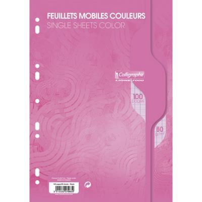 Feuilles mobiles Calligraphe - rose - 100 pages - grands carreaux - 21 x 29,7cm (photo)