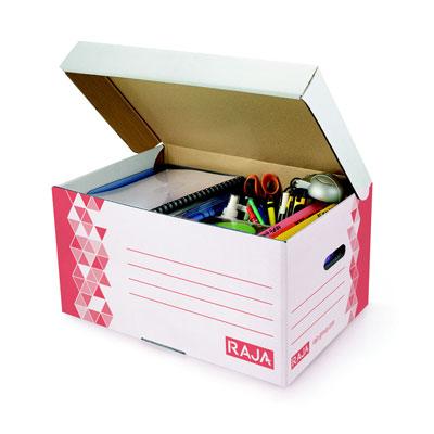 Caisse archives Premium Raja - L.54 x P.36 x H.26 cm - rouge