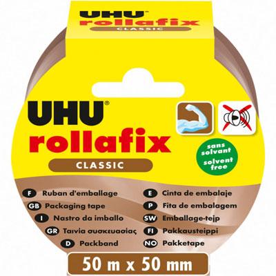 Ruban adhésif d'emballage en polypropylène silencieux Rollafix - 46 microns - 50 mm x 50 m - havane