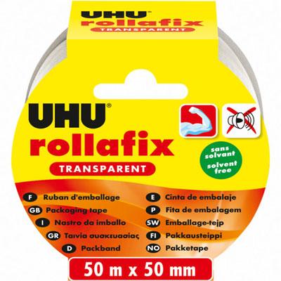Ruban adhésif d'emballage en polypropylène silencieux Rollafix - 46 microns - 50 mm x 50 m - transparent