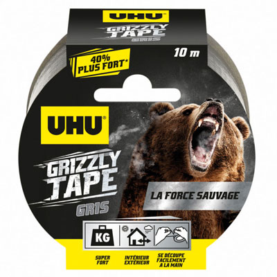 Ruban adhésif Uhu toilé en polyéthylène résistant étanche Grizzly Tape - 50 mm x 10 m - argent