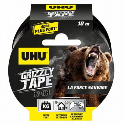 Ruban adhésif Uhu toilé en polyéthylène résistant étanche Grizzly Tape - 50 mm x 10 m - noir