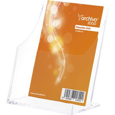 Présentoir de table vertical - format 1/3 de A4 - transparent  - 1 case