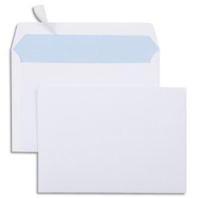 Enveloppes 114x162 - blanches auto-adhésives - 80g - boîte de 500
