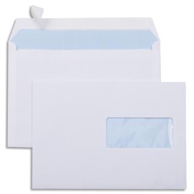 Enveloppes blanches 162 x 229 - fenêtre 45 x 100 - fermeture auto-adhésive - 80 g - boîte de 500