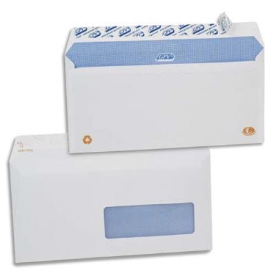 Enveloppes 110x220 GPV - fenêtre 35x100 - blanches - auto-adhésives - 90g - boîte de 500