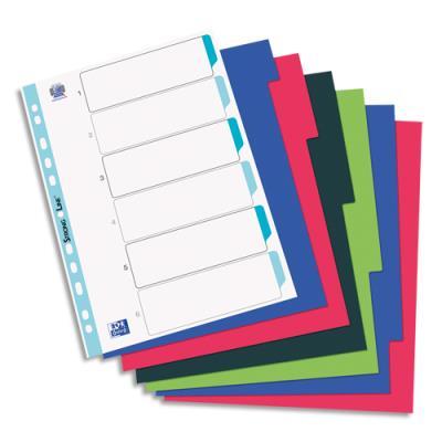 Intercalaires Elba - polypropylène souple 3/10e - A4+ - jeu de 6 - coloris opaques assotis