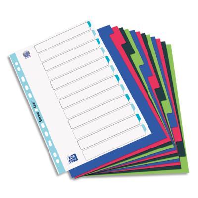 Intercalaires Elba - polypropylène souple 3/10e - A4+ - jeu de 12 - coloris opaques assotis