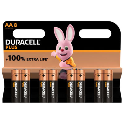 Pile alcaline AA / LR6 Duracell Plus - lot de 9