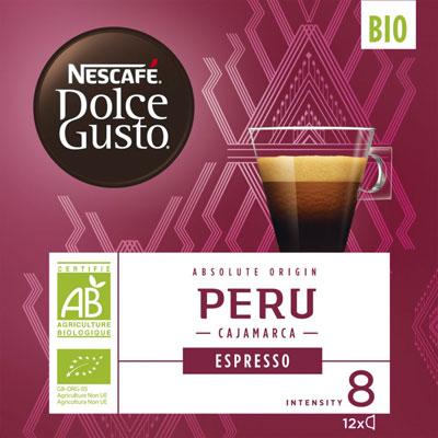 Espresso bio Pérou Nescafé Dolce Gusto - intensité 8/11 - paquet de 12 capsules