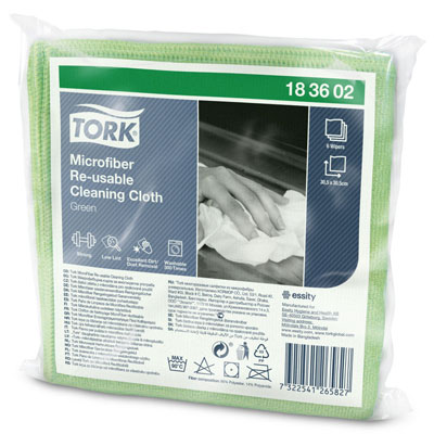 Chiffon de nettoyage en microfibre Tork - vert