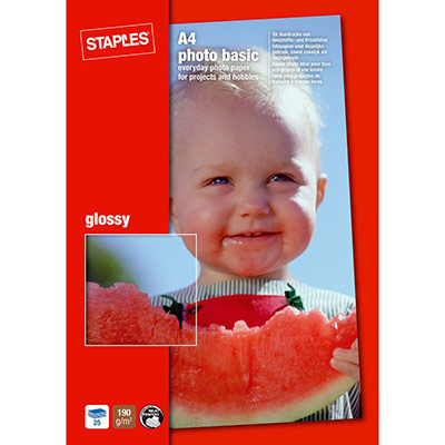 Papier photo brillant A4 blanc 190g pour jet d'encre - boîte de 50 feuilles (photo)