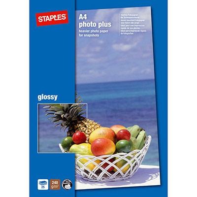 Papier photo brillant A4 blanc 240g pour jet d'encre - boîte de 25 feuilles (photo)