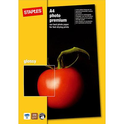 Papier photo brillant A4 blanc 270g Premium pour jet d'encre - boîte de 25 feuilles (photo)