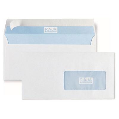 Enveloppe blanche Raja - DL 110 x 220 mm - avec fenêtre - 45 x 100 mm - fermeture autocollante avec bande protectrice - papier vélin 80 g