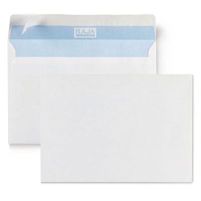 Enveloppe blanche Raja - C5 162 x 229 mm - sans fenêtre - fermeture autocollante avec bande protectrice - papier vélin 80g