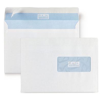 Enveloppe Raja - C5 162 x 229 mm - avec fenêtre 45 x 100 mm - fermeture autocollante - 80 g - boite de 500