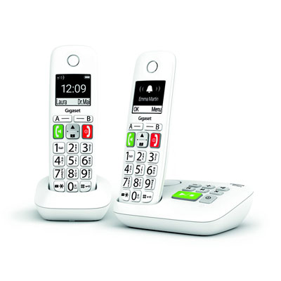 Téléphone sans fil Gigaset DECT E290A Duo - grandes touches - blanc