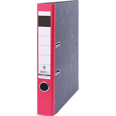 Classeur à levier en carton marbré 1er prix - dos 5 cm - format A4 - coloris marbré/dos rouge