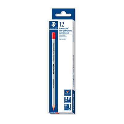 Crayon marqueur à sec Staedtler Lumocolor non permanant - boîte de 12 - rouge