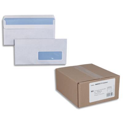 Enveloppes 110 x 220 mm neutres - fenêtre 35x100 - blanches - autocollantes - 80 g - boîte de 500 (photo)