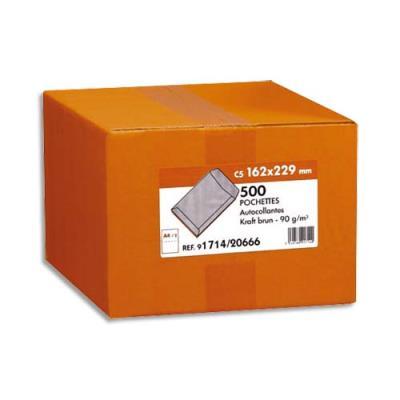 Boîte de 500 pochettes - 162x229 - kraft - 90 g - autocollant (photo)