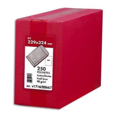 Boîte de 250 pochettes -  229x324 - kraft  - 90 g - autocollant (photo)