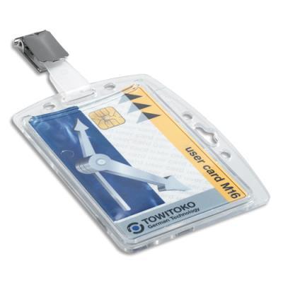 Badge rigide pour 1 carte de sécurité - avec enrouleur - boîte de 10 (photo)