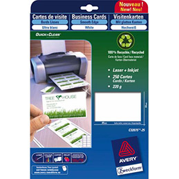 Carte de correspondance Avery C2359 - impression laser finition mate - 220g - format 21 x 9,9 cm - paquet de 75 (photo)