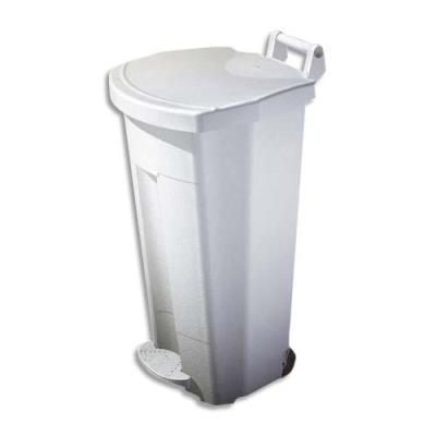 Poubelle mobile à pédale rossignol 90 l blanc plastique basic