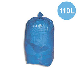 Sacs poubelles - 110 L - bleu - 30 microns - lot de 200 sacs (photo)