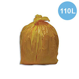 Sacs poubelles - 110 L - jaune - 30 microns - lot de 200 sacs (photo)