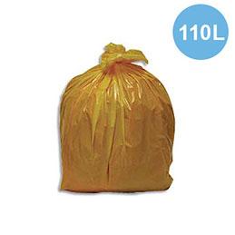 Sacs poubelles - 110 L - jaune - 30 microns - lot de 200 sacs (photo)