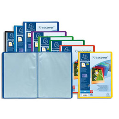 Protège document personnalisable Exacompta Kreacover - 60 pochettes/120 vues - polypro - coloris assortis (photo)
