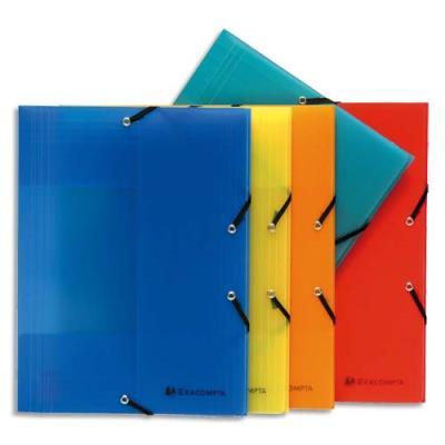 Chemise 3 rabats et élastique Linicolor - polypro 8/10e aspect ligné - 24 x 32 cm - coloris assortis standard