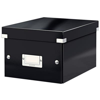 Boîte de rangement Click & Store carton , capacité 7,4 l, pour format A5 (148 x 210 mm), H. 160 mm x l. 21,6 cm x P. 28,2 cm - Noir - Montage facile par bouton pression