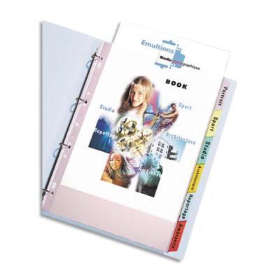 Jeu de pochettes intercalaires 6 positions à onglets PVC 9/100e. Format A4+