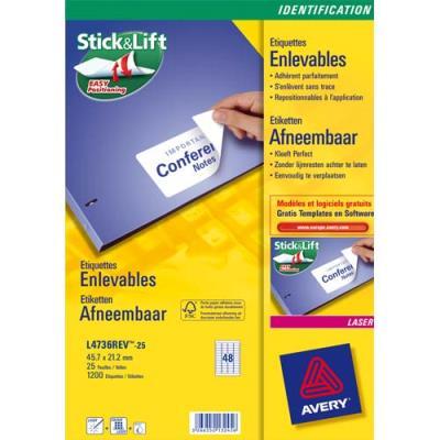 Boîte de 200 étiquettes enlevables Avery - Format 96x163.5 mm - Impression laser - L4745 (photo)