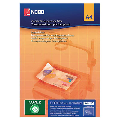 Transparents Nobo pour copieur - paquet 100 feuilles (photo)